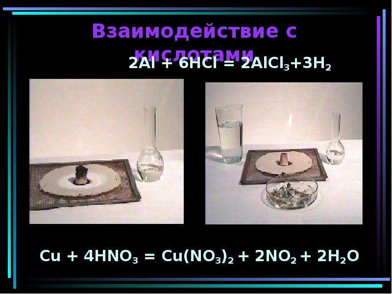 Взаимодействие с кислотами 2Al + 6HCl = 2AlCl3+3H2 Cu + 4HNO3 = Cu(NO3)2 + 2NO2 + 2H2O