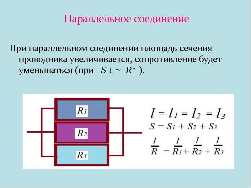 Параллельное соединение Параллельное соединение При параллельном соединении площадь сечения проводни