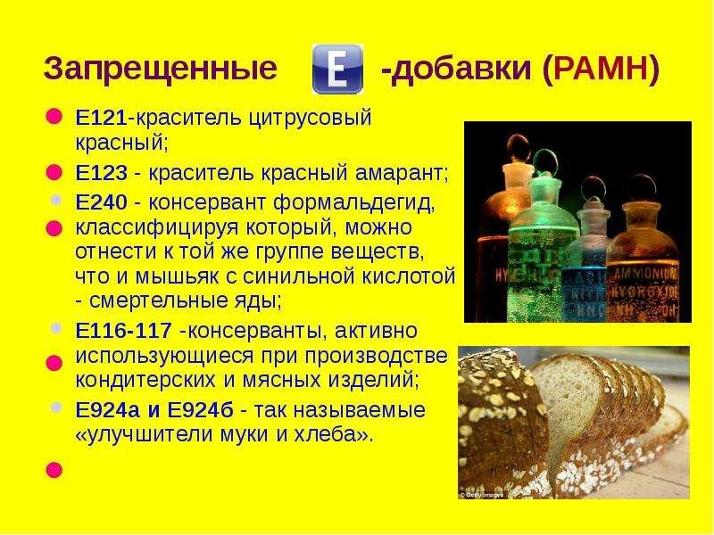 Запрещенные -добавки (РАМН) Е121-краситель цитрусовый красный; Е123 - краситель красный амарант; Е24