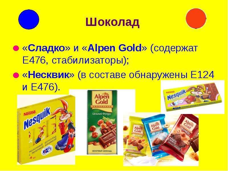 Шоколад «Сладко» и «Alpen Gold» (содержат Е476, стабилизаторы); «Несквик» (в составе обнаружены Е124