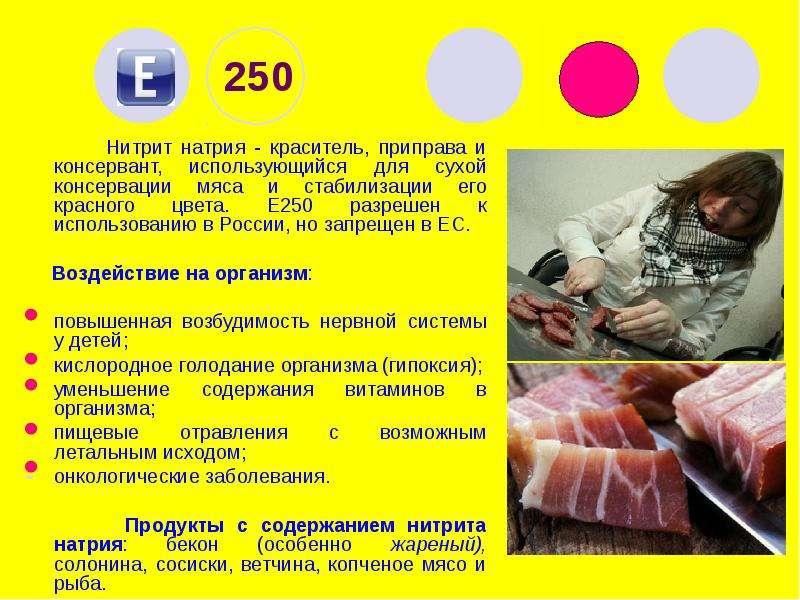 250 Нитрит натрия - краситель, приправа и консервант, использующийся для сухой консервации мяса и ст