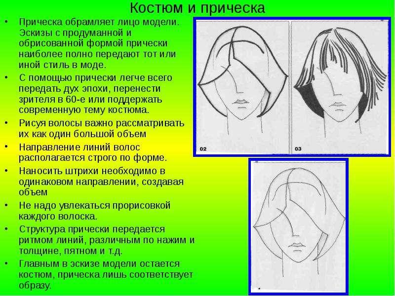 Костюм и прическа Прическа обрамляет лицо модели. Эскизы с продуманной и обрисованной формой прическ