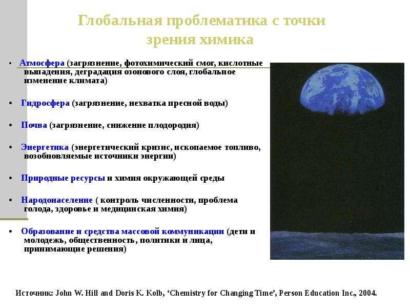 • Атмосфера (загрязнение, фотохимический смог, кислотные выпадения, деградация озонового слоя, глоба