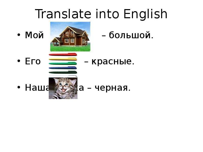 Translate into English Мой – большой. Его – красные. Наша кошка – черная.