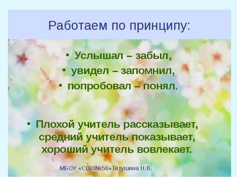 Работаем по принципу: Услышал – забыл, увидел – запомнил, попробовал – понял.
