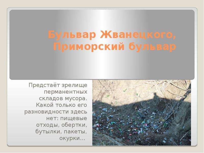 Бульвар Жванецкого, Приморский бульвар Предстаёт зрелище перманентных складов мусора. Какой только е