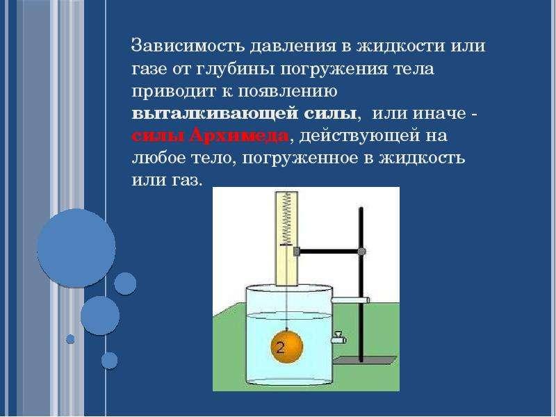 Зависимость давления в жидкости или газе от глубины погружения тела приводит к появлению выталкивающ