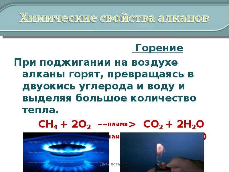 Презентация химические свойства алканов