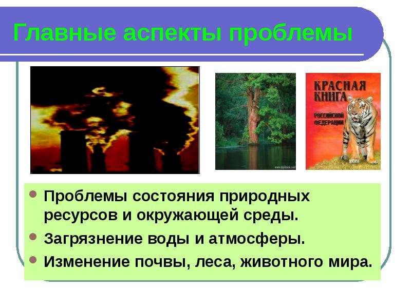 Главные аспекты проблемы Проблемы состояния природных ресурсов и окружающей среды. Загрязнение воды