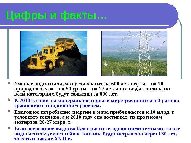 Цифры и факты… Ученые подсчитали, что угля хватит на 600 лет, нефти – на 90, природного газа – на 50