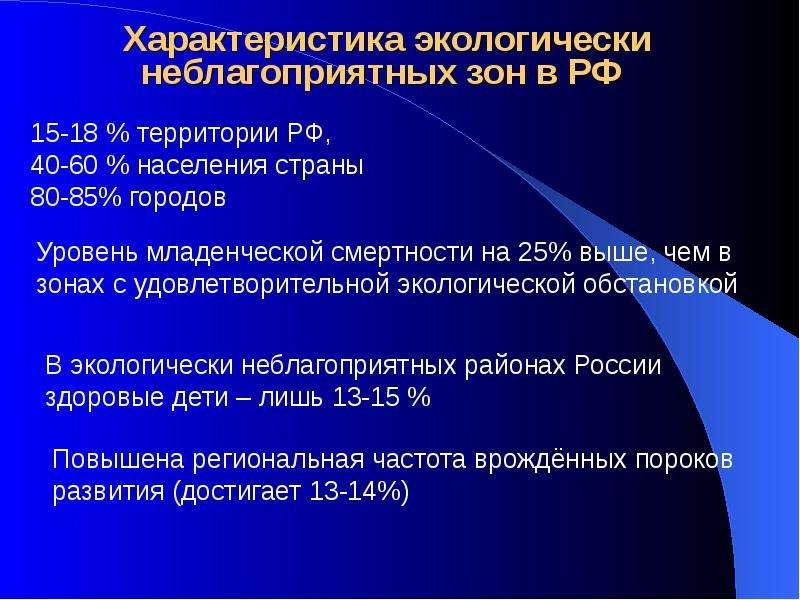 Характеристика экологически неблагоприятных зон в РФ