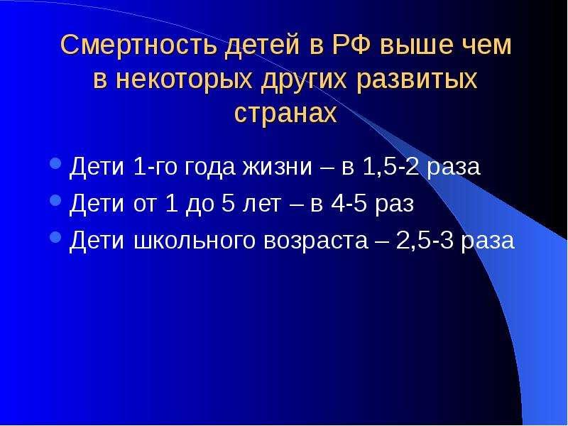Смертность детей в РФ выше чем в некоторых других развитых странах Дети 1-го года жизни – в 1,5-2 ра
