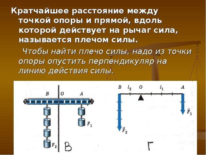 Кратчайшее расстояние между точкой опоры и прямой, вдоль которой действует на рычаг сила, называется