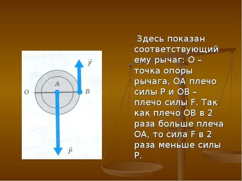 Здесь показан соответствующий ему рычаг: O – точка опоры рычага, ОА плечо силы P и ОВ – плечо силы F