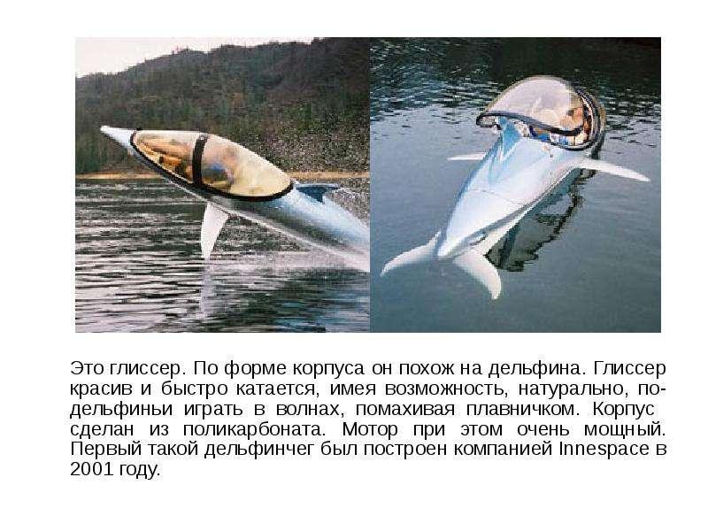 Это глиссер. По форме корпуса он похож на дельфина. Глиссер красив и быстро катается, имея возможнос