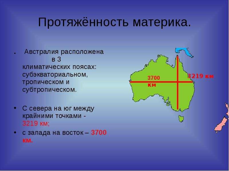 Протяжённость материка. . Австралия расположена в 3 климатических поясах: субэкваториальном, тропиче