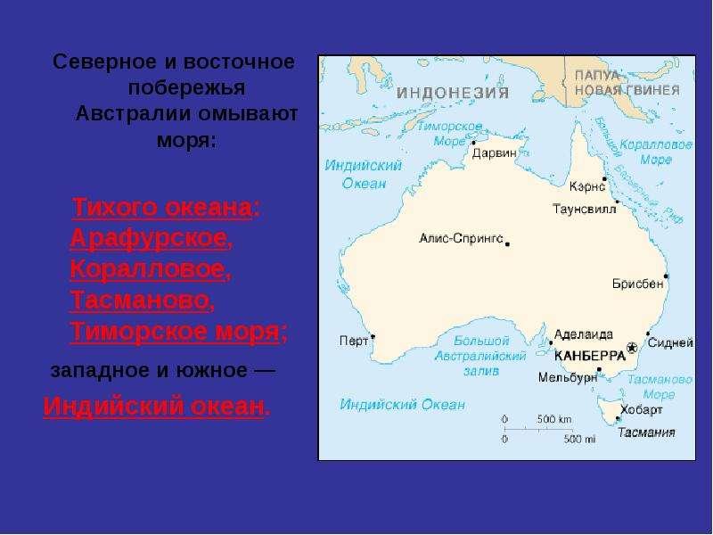 Северное и восточное побережья Австралии омывают моря: Северное и восточное побережья Австралии омыв