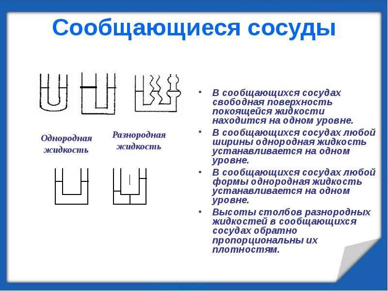 Сообщающиеся сосуды В сообщающихся сосудах свободная поверхность покоящейся жидкости находится на од