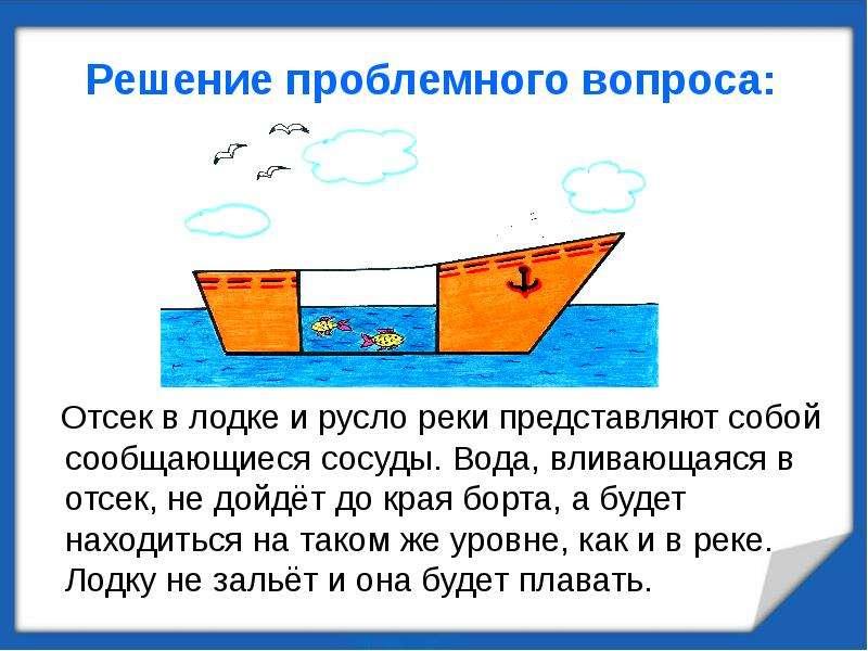 Решение проблемного вопроса: Отсек в лодке и русло реки представляют собой сообщающиеся сосуды. Вода