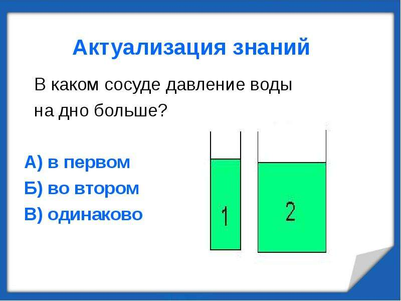 Актуализация знаний В каком сосуде давление воды на дно больше? А) в первом Б) во втором В) одинаков