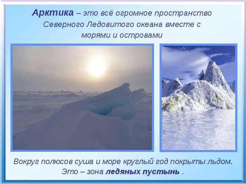 Арктика – это всё огромное пространство Арктика – это всё огромное пространство Северного Ледовитого