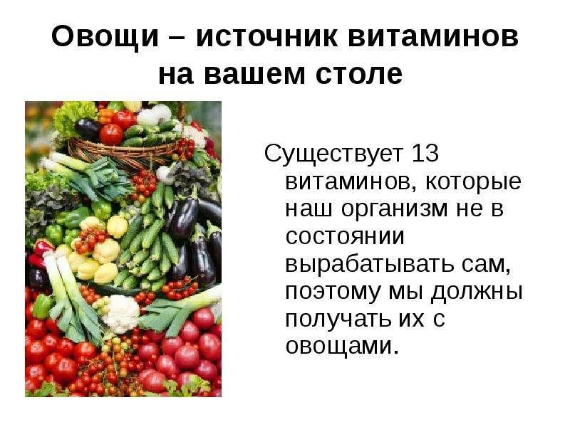 Овощи – источник витаминов на вашем столе Существует 13 витаминов, которые наш организм не в состоян