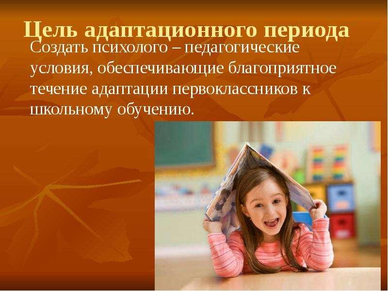 Цель адаптационного периода Создать психолого – педагогические условия, обеспечивающие благоприятное