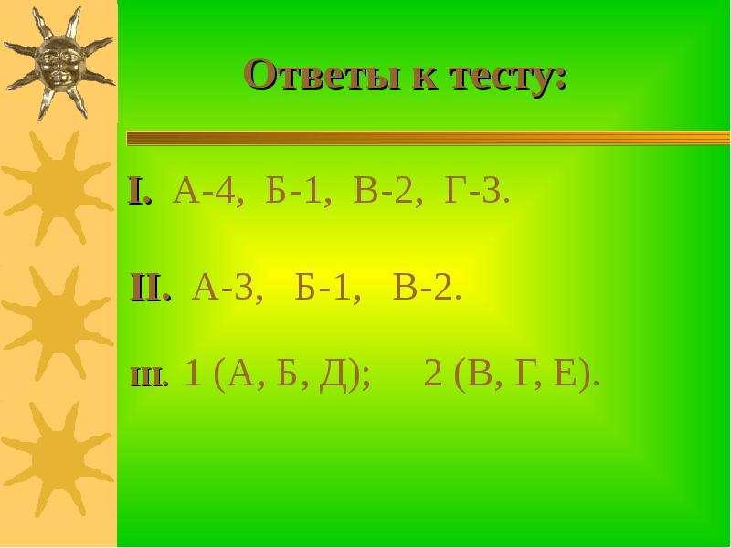 Ответы к тесту: I. А-4, Б-1, В-2, Г-3.