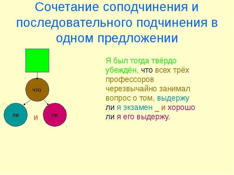 Сочетание соподчинения и последовательного подчинения в одном предложении