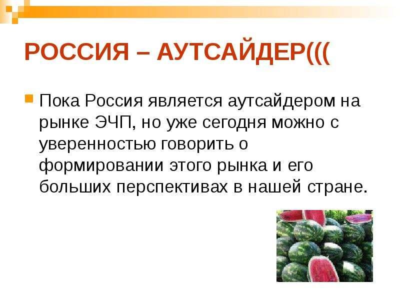 РОССИЯ – АУТСАЙДЕР((( Пока Россия является аутсайдером на рынке ЭЧП, но уже сегодня можно с уверенно
