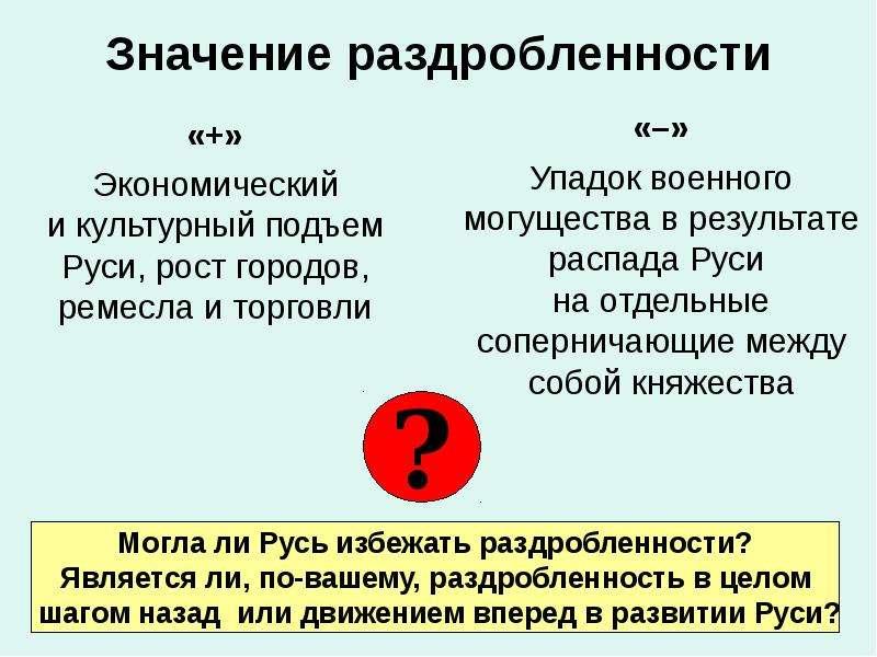 Значение раздробленности «+» Экономический и культурный подъем Руси, рост городов, ремесла и торговл