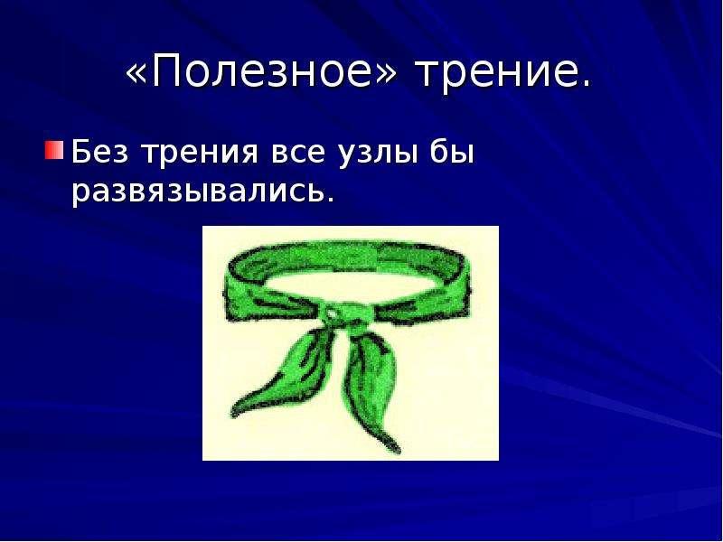 «Полезное» трение. Без трения все узлы бы развязывались.