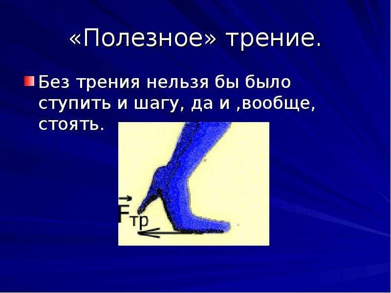 «Полезное» трение. Без трения нельзя бы было ступить и шагу, да и ,вообще, стоять.