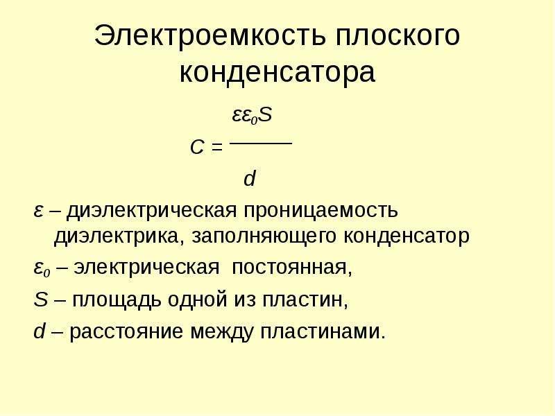 Электроемкость плоского конденсатора εε0S C = d ε – диэлектрическая проницаемость диэлектрика, запол