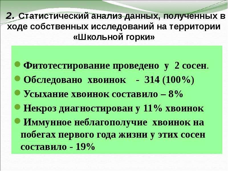 2. Статистический анализ данных, полученных в ходе собственных исследований на территории «Школьной