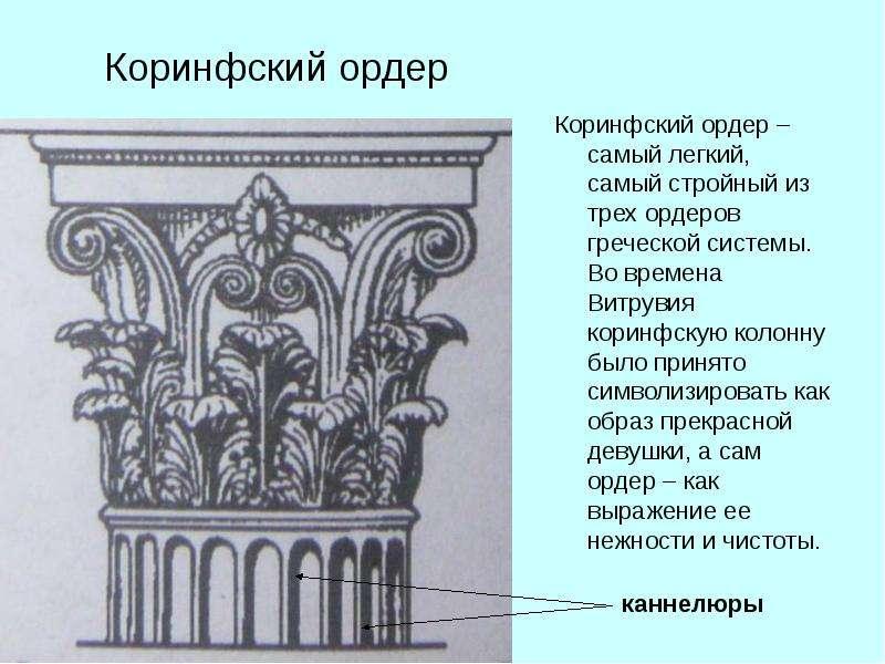 Коринфский ордер Коринфский ордер – самый легкий, самый стройный из трех ордеров греческой системы.