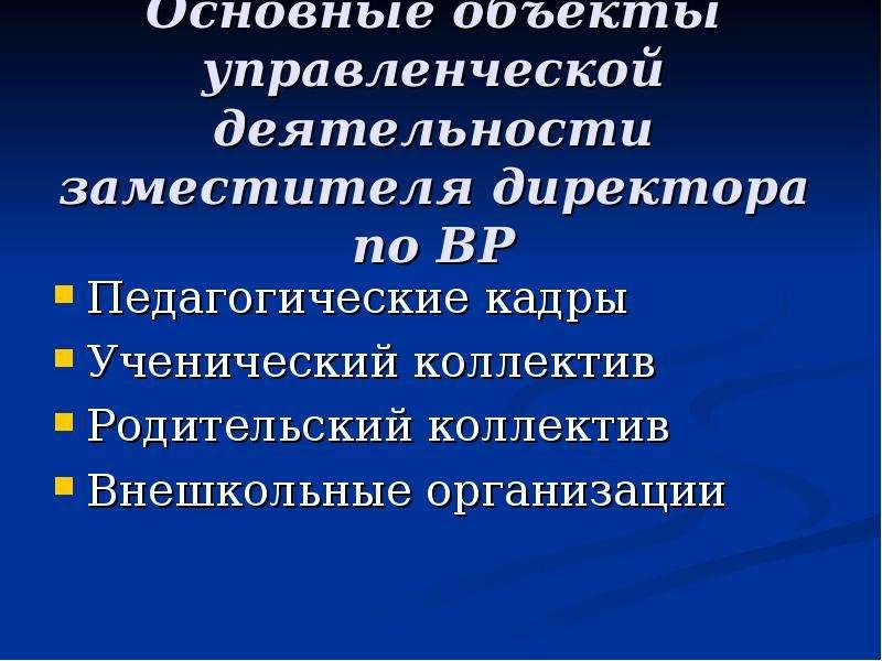 Основные объекты управленческой деятельности заместителя директора по ВР Педагогические кадры Ученич