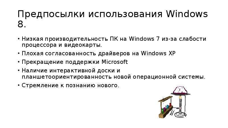 Предпосылки использования Windows 8. Низкая производительность ПК на Windows 7 из-за слабости процес