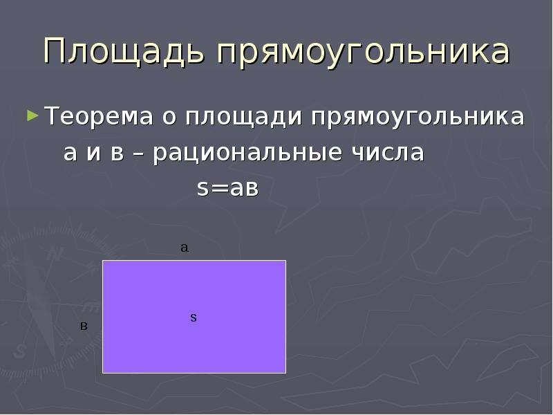 Площадь прямоугольника Теорема о площади прямоугольника а и в – рациональные числа s=ав