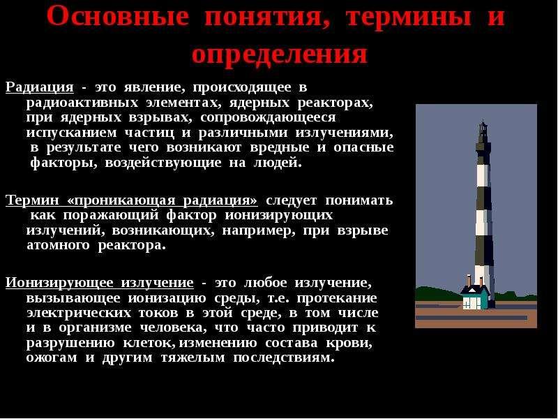 Основные понятия, термины и определения Радиация - это явление, происходящее в радиоактивных элемент