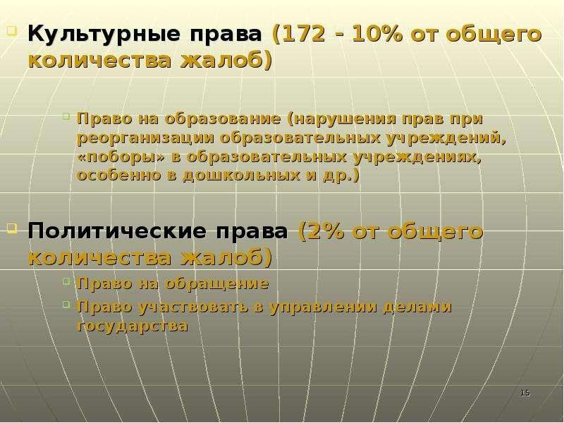 Культурные права (172 - 10% от общего количества жалоб) Культурные права (172 - 10% от общего количе