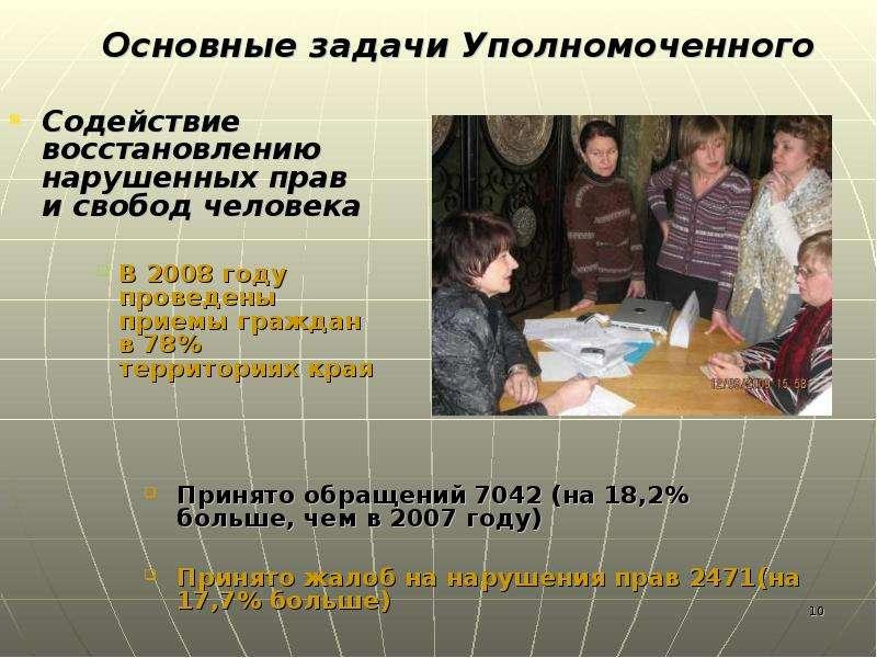 Содействие восстановлению нарушенных прав и свобод человека В 2008 году проведены приемы граждан в 7