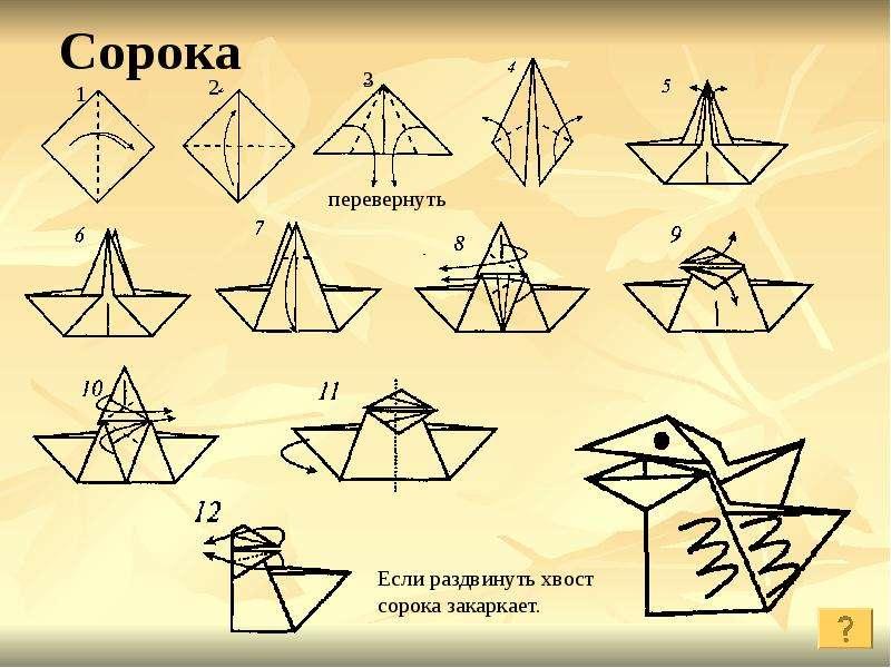 Оригами сорока воровка