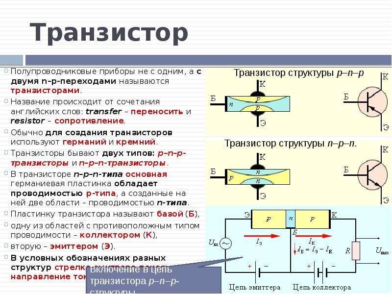 Транзистор Полупроводниковые приборы не с одним, а с двумя n–p-переходами называются транзисторами.
