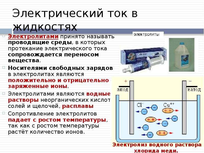Электрический ток в жидкостях Электролитами принято называть проводящие среды, в которых протекание