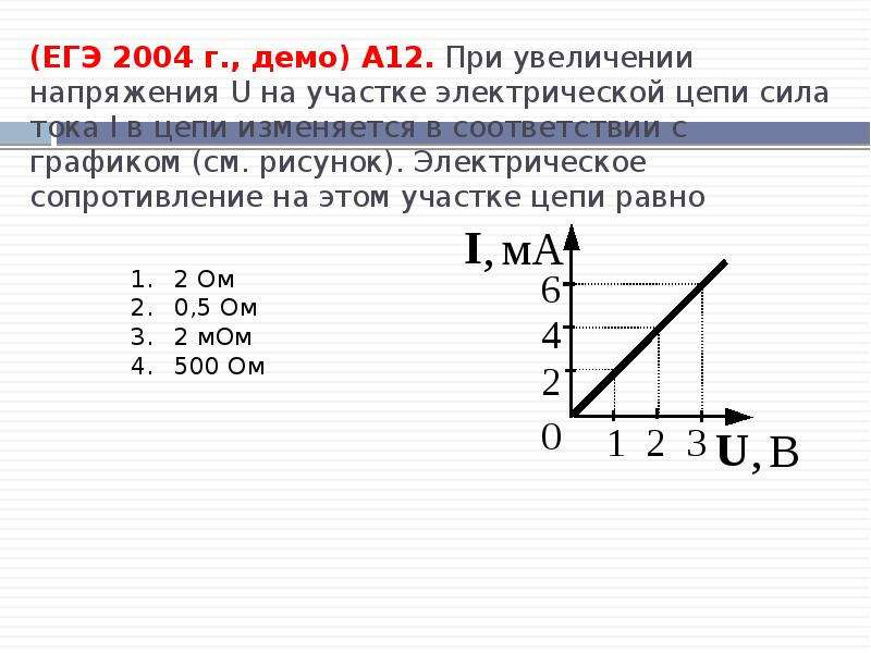 (ЕГЭ 2004 г. , демо) А12. При увеличении напряжения U на участке электрической цепи сила тока I в це