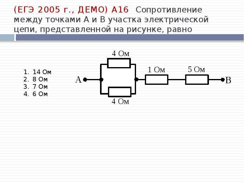 (ЕГЭ 2005 г. , ДЕМО) А16. Сопротивление между точками А и В участка электрической цепи, представленн