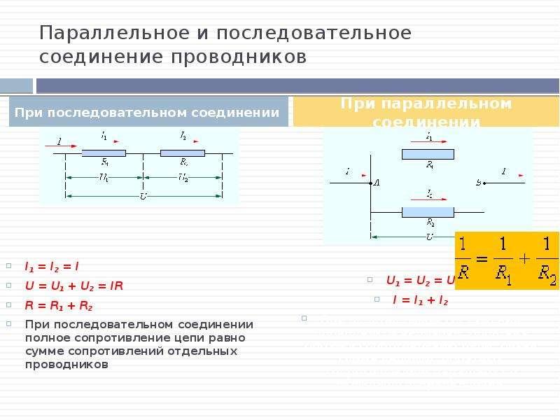 Параллельное и последовательное соединение проводников I1 = I2 = I U = U1 + U2 = IR R = R1 + R2 При
