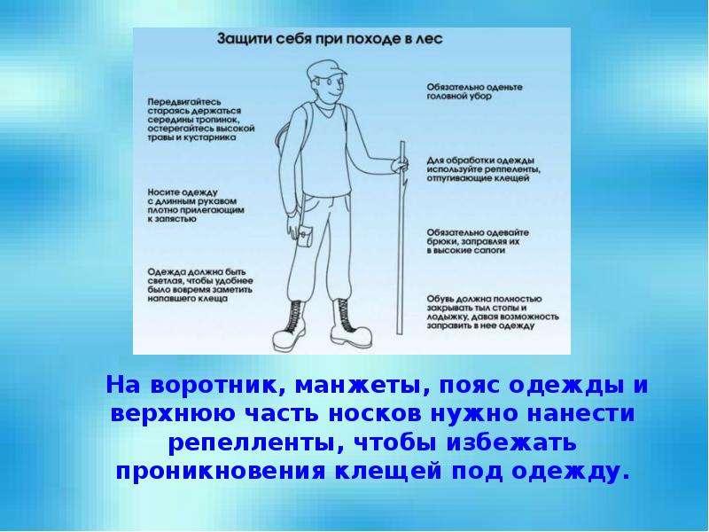 На воротник, манжеты, пояс одежды и верхнюю часть носков нужно нанести репелленты, чтобы избежать пр