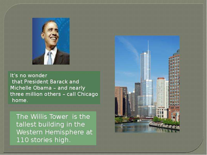 The Willis Tower is the tallest building in the Western Hemisphere at 110 stories high. The Willis T